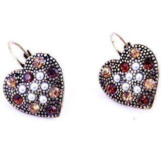 Crystal Resin Heart Shape Studs Earrings