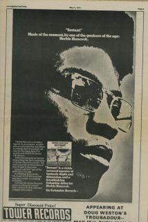 Herbie Hancock Sextant 1973 Original LP Promo Ad Poster