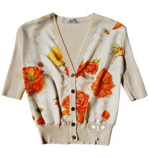 Hermes Silk Cropped Cardigan Beige Orange Yellow Pre Owned