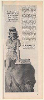 1965 Hermes 3000 Portable Typewriter Lady Riding Elephant Print Ad