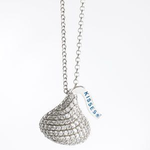 CRYSTAL SILVER HERSHEY CHOCOLATE CANDY KISS KISSES NECKLACE XMAS GIFT