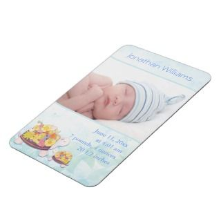 Turtle Baby Boy Photo Birth Announcement Magnets