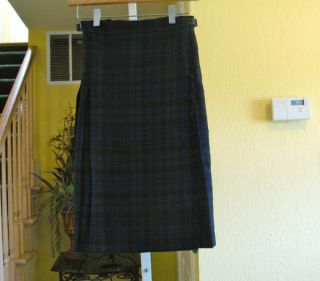 Highland Home Industries Scotland Scotch Plaid Wool Kilt Skirt 11 12