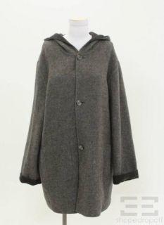 Hilary Radley Charcoal Light Grey Alpaca Wool Reversible Hooded Coat