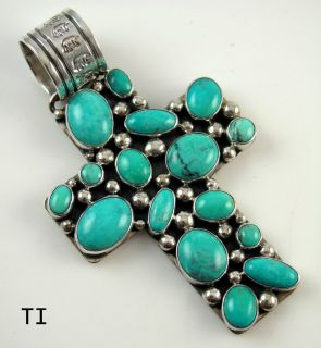 Large Navajo Sterling Silver Turquoise Cross Pendant By PHILBERT
