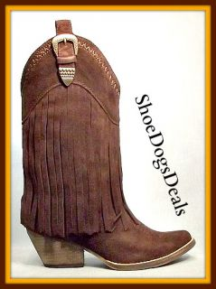 Sale Very Volatile Hillside Brown Suede Fringe Boot Sizes in Drop Down
