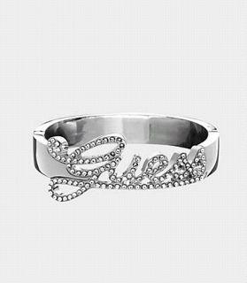 New Guess Exclusive Disco Logo Metal Hinge Crystal Bangle Bracelet w