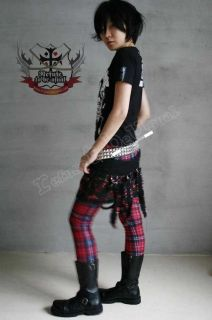 Punk Goth Red Tartan Plaid Cigarette Thermal Leggings