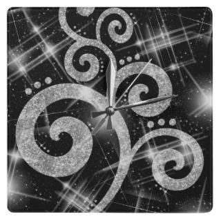 Elegant Silver Glitter Look Modern Swirl Square Wall Clock