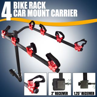 New 4 Bicycle Bike Rack Hitch Mount Carrier Car Truck SUV Swing Away