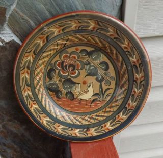 Vintage Mexican Tonala Pottery 10 Wall Display Plate Bird Flowers