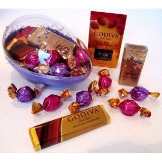 Purple Plastic Easter Gift Egg Basket Filled With Godiva Premium