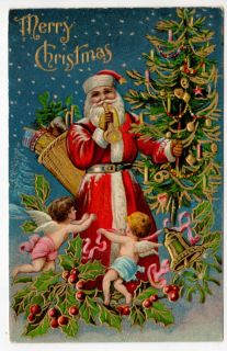 Postcard Santa Blowing Horn with Cupid Angels, Tree, Toy, and Holly