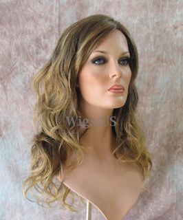 Hollywood Style Dark Ash Blonde Skin Part Long Waves womens wigs