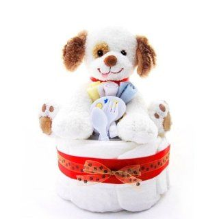 1 Tier Puppy Themed New Baby Boy Diaper Cake   Shower