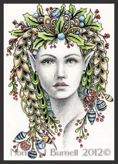 Original ACEO Sketch Card Holly Yule Christmas Fairy Tangle Fairie Elf
