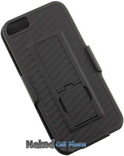Rubberized Hard Case Belt Clip Holster Stand for Apple iPhone 5