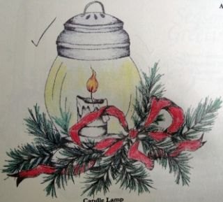 Blue Ridge Impressions Rubber Stamp Christmas Candle Holly Ribbon Lamp