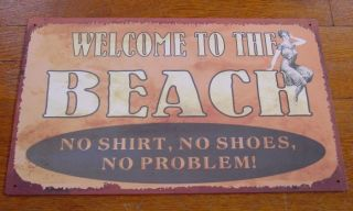 WELCOME TO THE BEACH SIGN Vintage Retro Nautical Seaside Ocean Home
