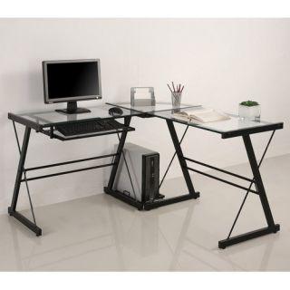 Glass Metal L Shaped Corner Computer Desk Home Office Furniture