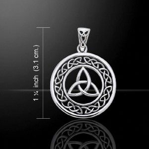 Holy Trinity Triquetra Celtic Irish Knot Silver Pendant with 18 Chain