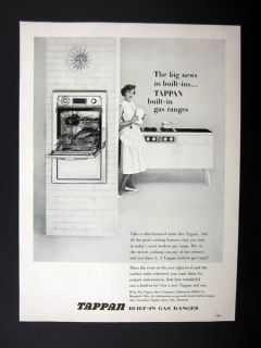 Tappan Built in Gas Range Stove Oven Kitchen 1955 Print Ad