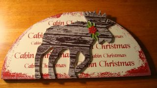 CHRISTMAS MOOSE WOOD SIGN Rustic Holiday Lodge Home Door Decor NEW