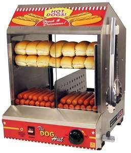COMMERCIAL HOT DOG SAUSAGE ROTISSERIE COOKER STEAMER ROLLER w BUN