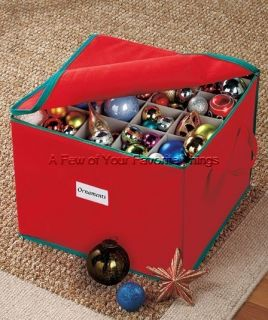 FABRIC STORAGE BOX HOLDS 75 CHRISTMAS TREE ORNAMENTS HOME ORGANIZATION
