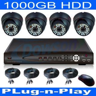 Surveillance DVR 4 36 IR Day Night Dome Cameras Security System