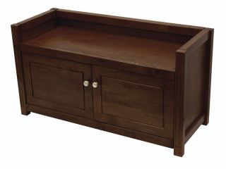 Wooden Bench w Storage Cabinet 39 75 Long by Winsome Wood