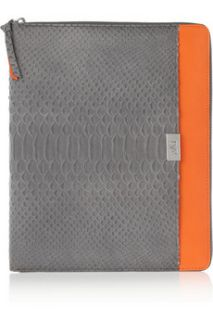 Diane von Furstenberg Faux python and leather iPad case    51% Off
