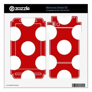 Artistic Abstract Retro Polka Dots Red White Motorola Droid X2 Skins