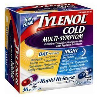 Tylenol Cold Rapid Release Gels   Day/Night 60 ct Health