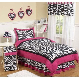 Hot Pink, Black & White Funky Zebra Teen Bedding 3pc Full