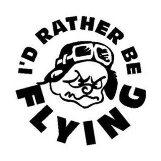 ID RATHER BE FLYING Cartoon Pilot Vinyl sticker/decal
