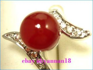 Beautiful Jewelry Red Agate Jade Silver Crystal Womens Ring Size 7 8