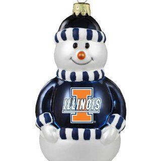 NCAA Illinois Fighting Illini Blown Glass Snowman Ornament
