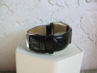 Mens Honora Swiss Movement Black Mother of Pearl Crocodile Leather SS