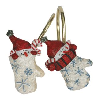Warm Winter Wishes Shower Curtain Hooks Christmas Mittens Set of 12
