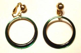 Vintage Emerald Green Clip on Style Dangle Hoop Earrings