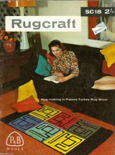 Vintage Rugcraft Latch Hook Rugs Pattern Book Charts Color Charts