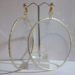 Clip on 2 75 Gold Tone Laser Cut Thin Large Hoop Earrings J294