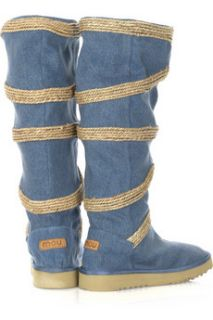 Mou Seagrass Circled tall denim boots