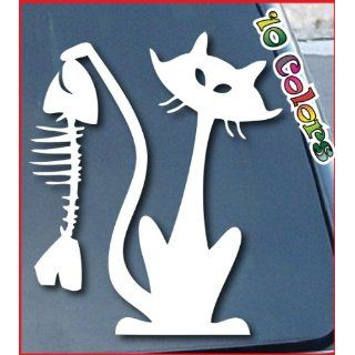 Cat and Fish Car Window Decal Sticker 4 Tall White