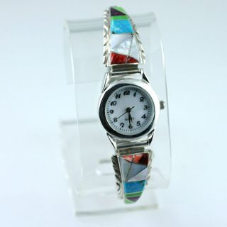 Native American Jewelry Multi Gemstone Inlay Watch