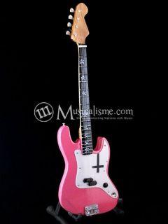 Miniature Guitar Mark Hoppus Fender Jazz Bass Pink Cross Custom Free
