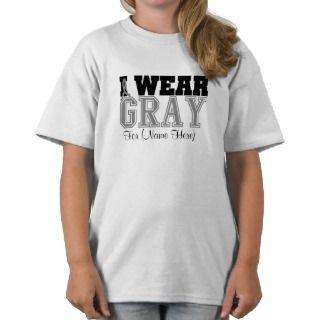 Personalize I Wear Gray Ribbon Brain Cancer T shirt