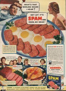 1939 Vintage Hormel Good Food Spam and Eggs My Dear Print Ad