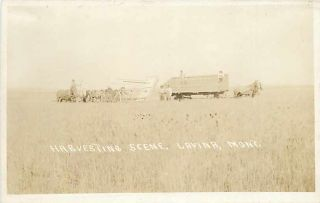 Lavina Montana RPPC Harvesting Scene Horse Drawn Farm Equipment
